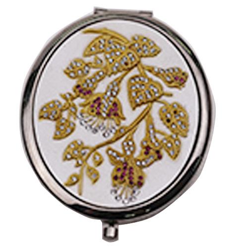 金属镶钻化妆镜定制 折叠翻盖镜便携镜厂家
