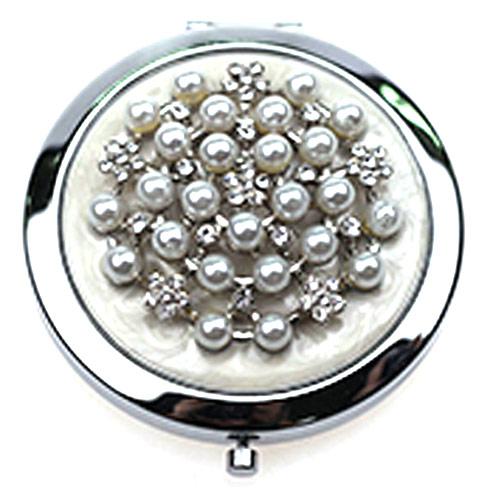 东莞厂家定制镶钻化妆镜 镶珍珠镜面金属折叠镜