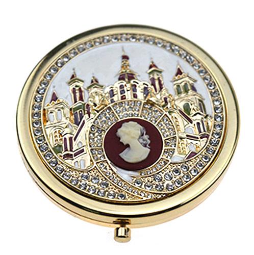 礼品随身镜工厂 欧式城堡锌合金化妆镜定制