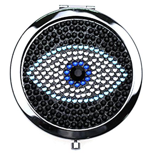 礼品随身镜定制 大眼睛图案镶钻化妆镜生产厂家