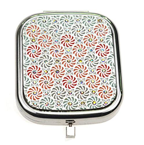 镶水晶礼品随身镜生产 东莞方形金属小镜子加工