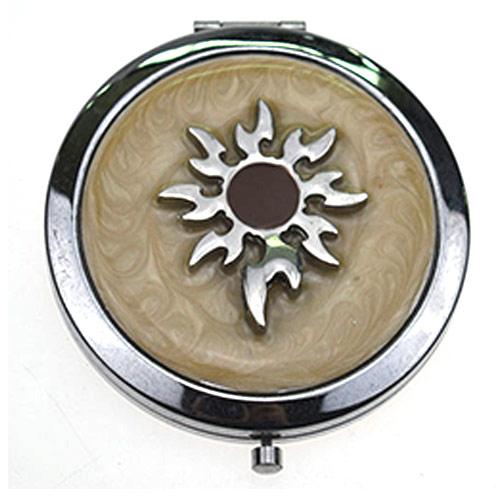 银色金属镶钻化妆镜定制 创意新款双面圆形镜