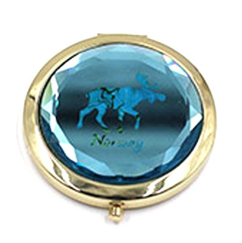 双面蓝水晶化妆镜定制 便携折叠小镜子厂家
