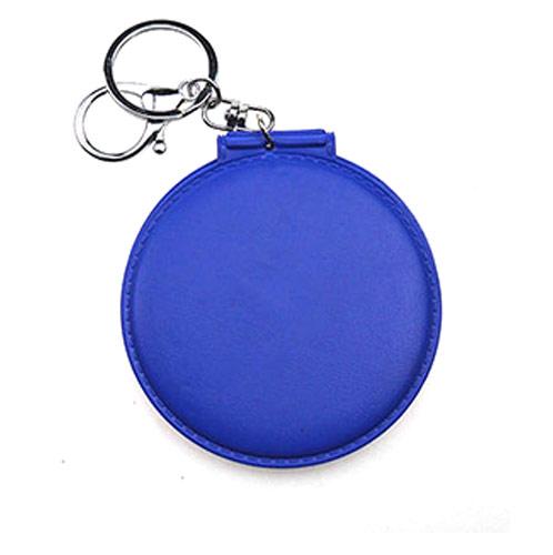 工厂批发PU皮革化妆镜带钥匙圈