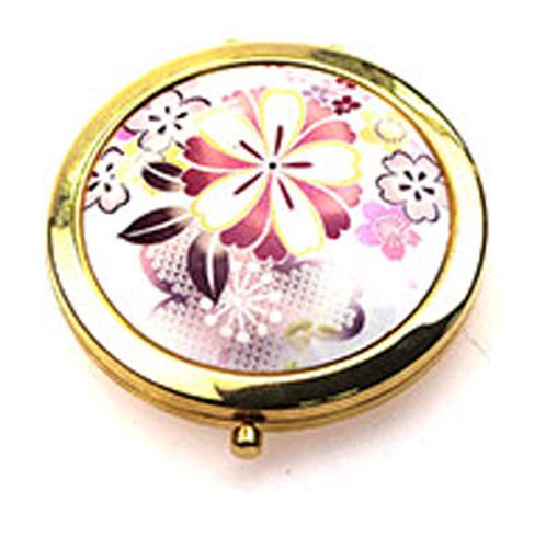 圆形金属随身化妆镜定制 镀金礼品小镜子厂家