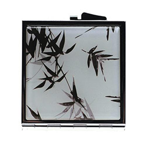 滴胶双面随身化妆镜 竹叶图不锈铁方形小镜子