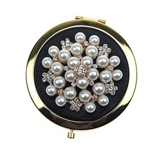 镶珍珠锌合金化妆镜定制 金属小镜子厂家