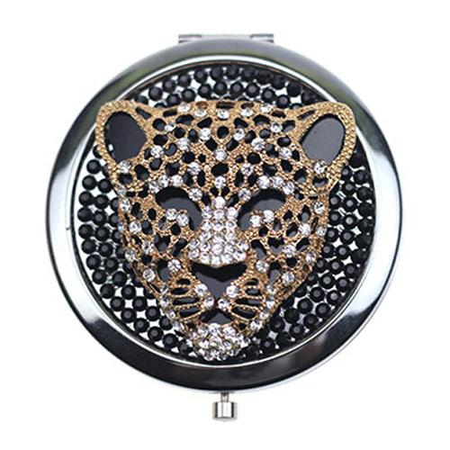 豹头镶钻锌合金化妆镜定制