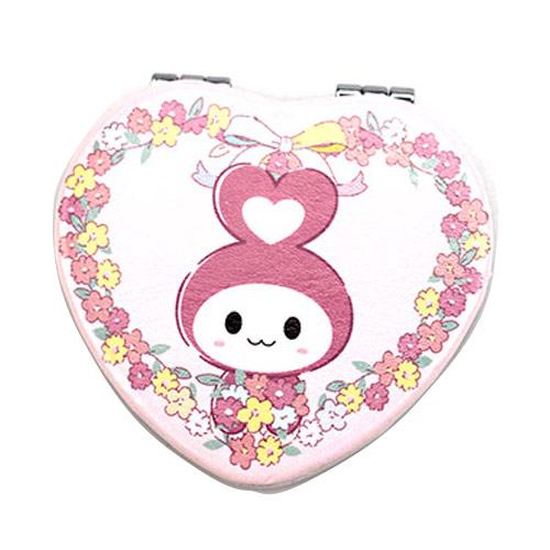 粉色心形PU皮革化妆镜定制  卡通公仔双面礼品镜