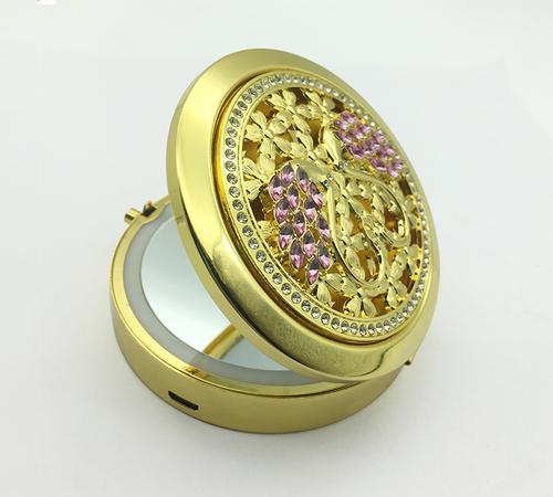 大爱饰家金属镂空LED化妆镜 便携led补光折叠镜