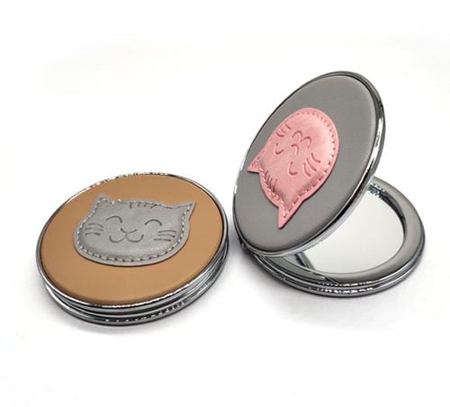 礼赠品皮革小镜子圆形折叠镜塑胶镜子PU皮革化妆镜