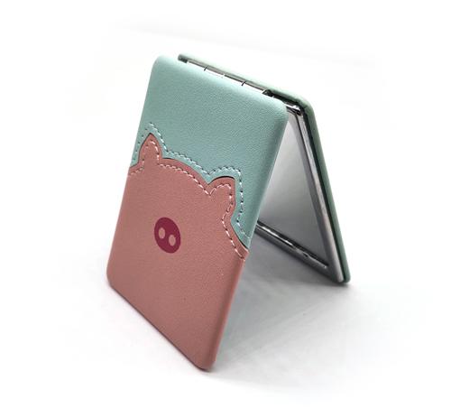 皮革折叠镜广告礼品方形皮革镜子定制logo随身折叠镜