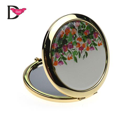 圆形金属滴胶化妆镜定制款礼品镜子随身折叠圆镜