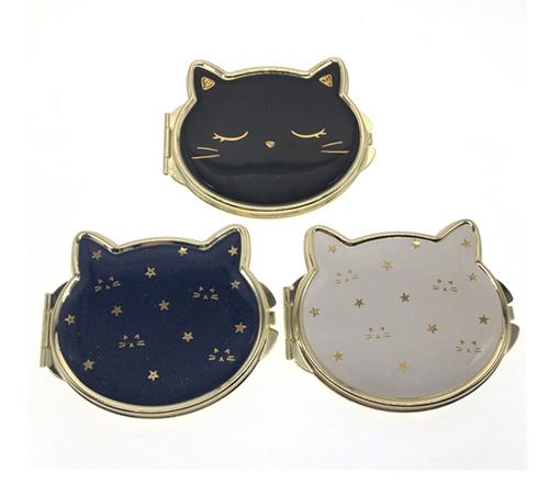 礼品小镜子厂家定制卡通猫咪折叠镜便携随身小镜子