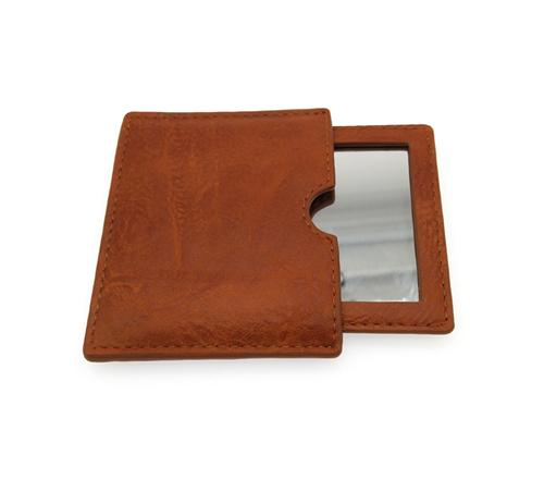男士商务礼品带皮套皮革镜子定制单面随身镜PU皮革化妆镜