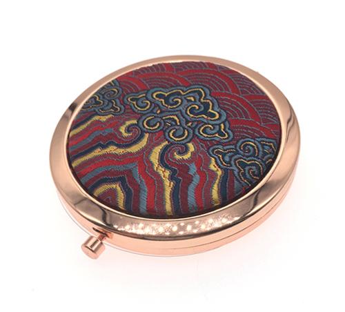 精美礼品化妆镜布面金属小镜子圆形随身化妆镜