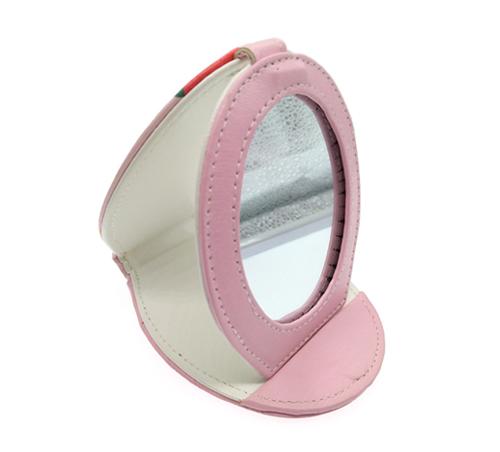 礼赠品小镜子定制椭圆形皮革三折镜卡通小镜子PU皮革化妆镜