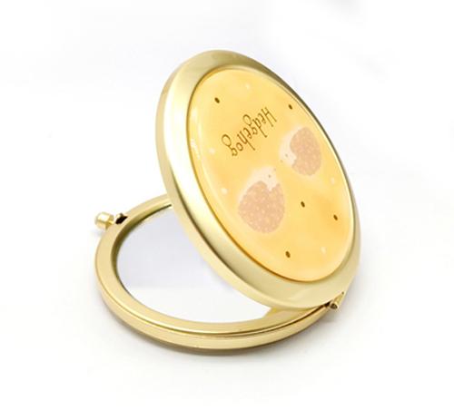 金色折叠随身镜精美商务礼品圆形小镜子定制便携化妆镜