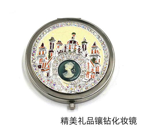 商务礼品圆形镶钻金属镜厂家定制折叠小圆镜随身化妆镜