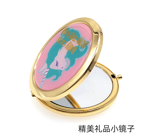 滴胶贴纸化妆镜礼品随身金属镜便携折叠圆形小镜子定制