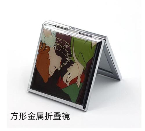卡通小镜子方形金属折叠镜厂家定制双面随身化妆镜口袋镜子