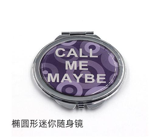 促销礼品小镜子椭圆形迷你随身镜工厂定制logo随手补妆镜子