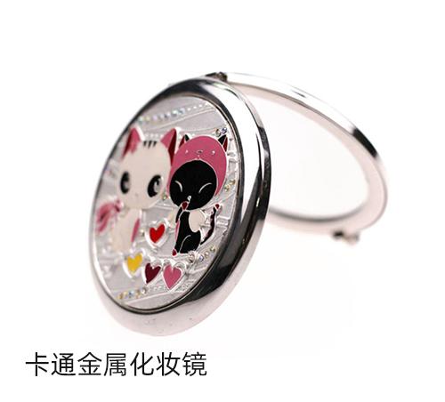 精致女孩都喜欢的便携卡通金属化妆镜,金属镶钻小镜子厂家定制