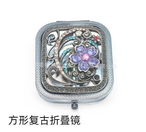 方形复古折叠镜时尚古风小镜子厂家定做便携随身小镜子口袋镜