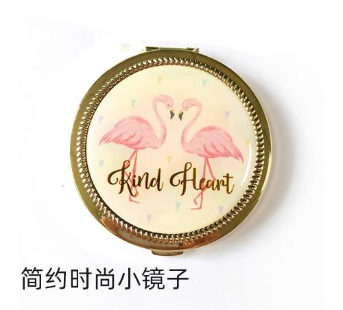 简约时尚小镜子滴胶贴纸随身镜工厂定做礼品折叠镜印logo