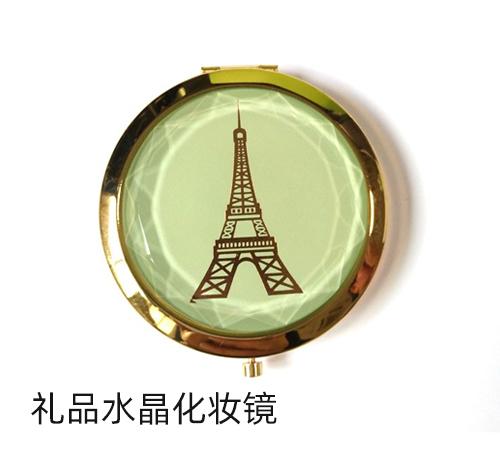 精致小镜子礼品水晶化妆镜钻石面水晶玻璃盖随身镜子厂家定制