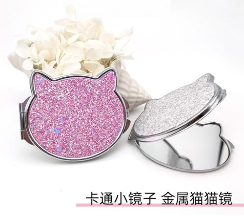 可爱粉色猫咪镜卡通猫头折叠镜礼赠品小镜子定制logo